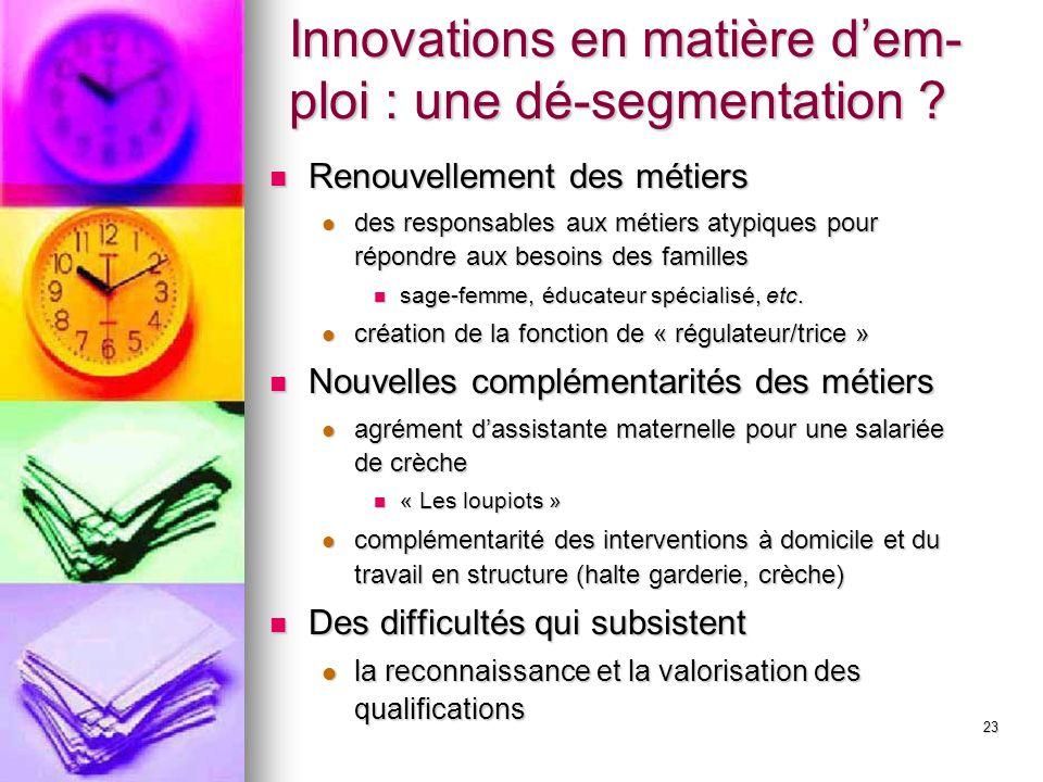 Innovations en matière d'em-ploi : une dé-segmentation