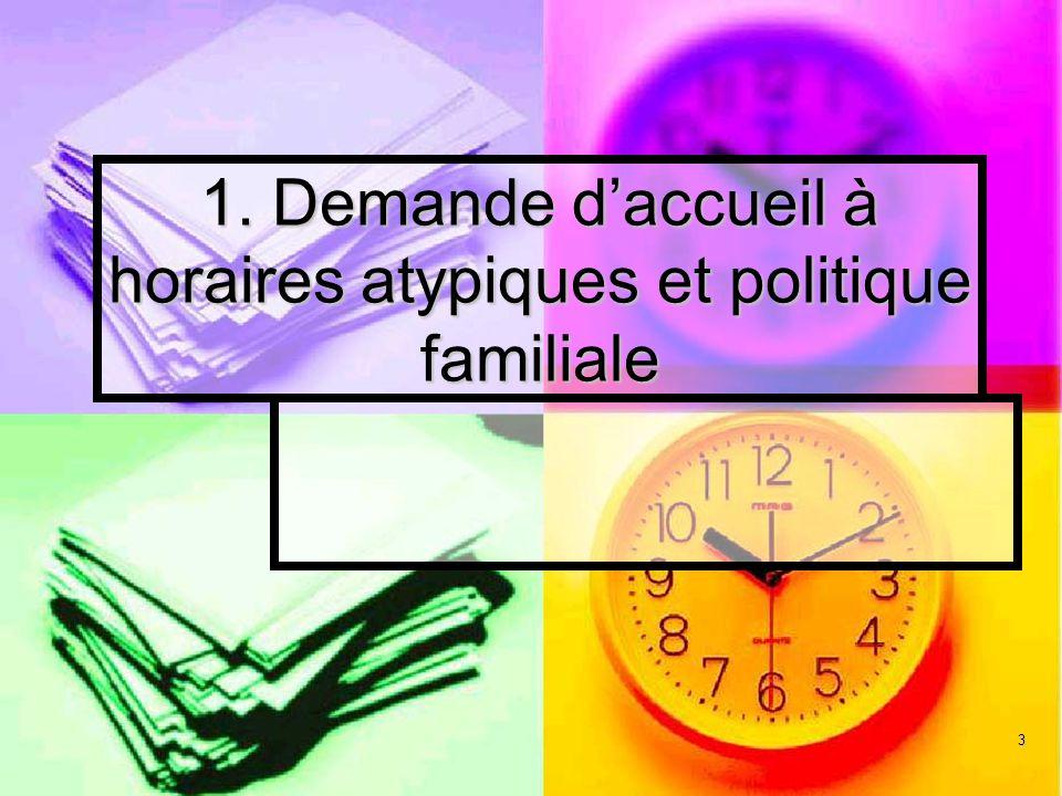 1. Demande d'accueil à horaires atypiques et politique familiale