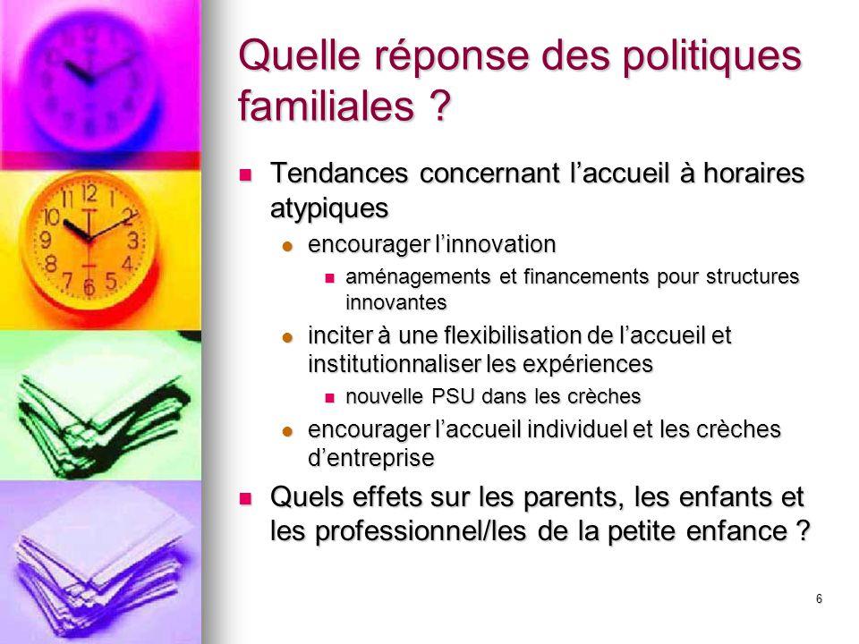 Quelle réponse des politiques familiales