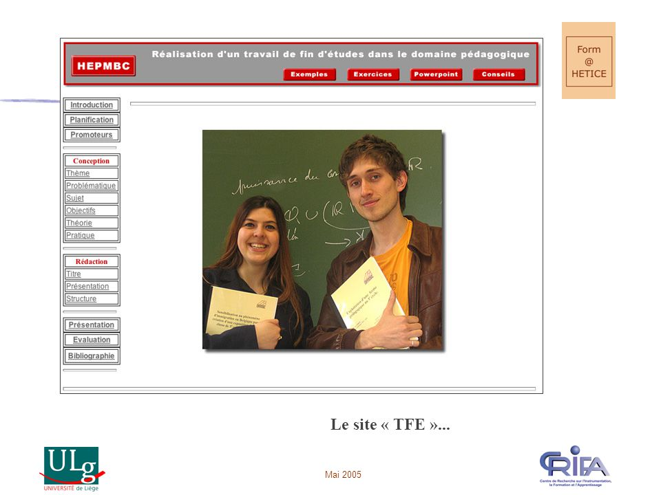 Le site « TFE »... Mai 2005