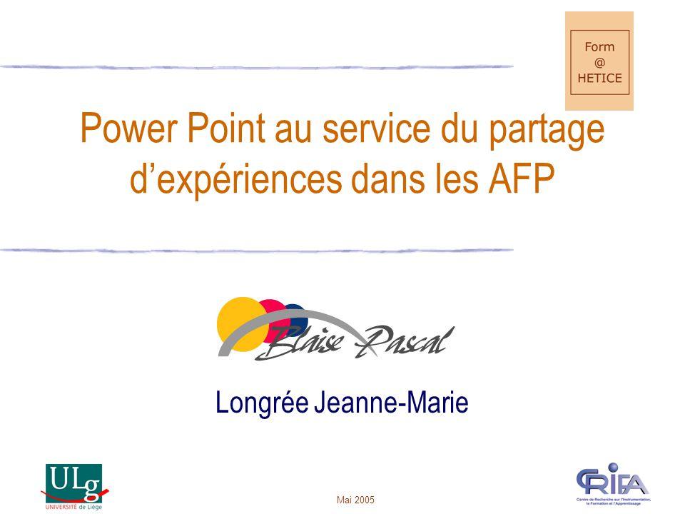 Power Point au service du partage d'expériences dans les AFP