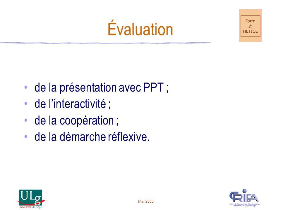 Évaluation de la présentation avec PPT ; de l'interactivité ;