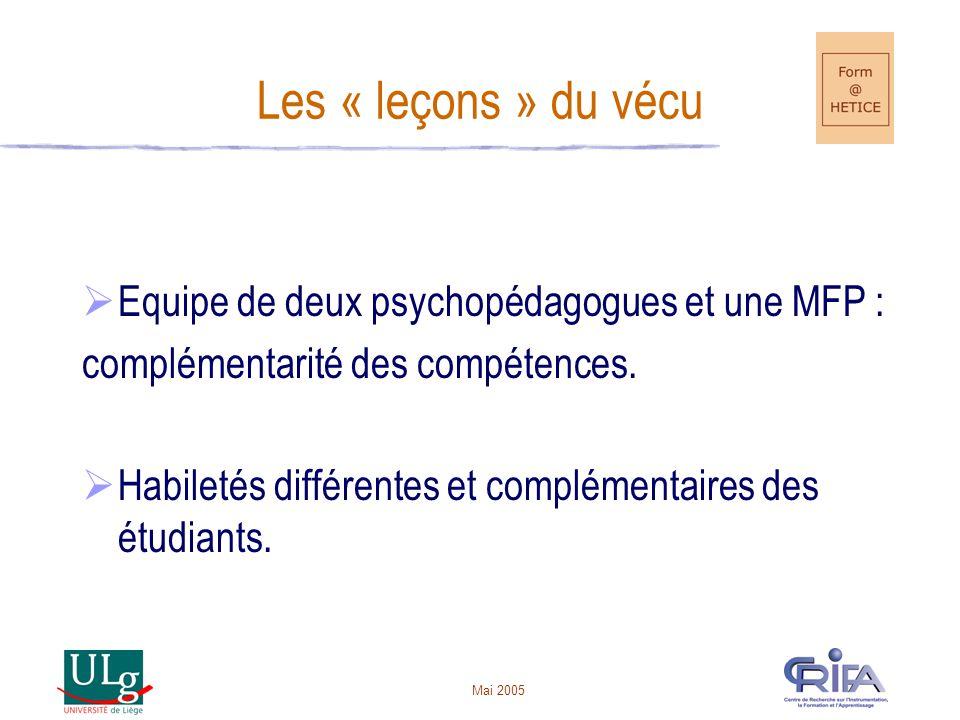 Les « leçons » du vécu Equipe de deux psychopédagogues et une MFP :