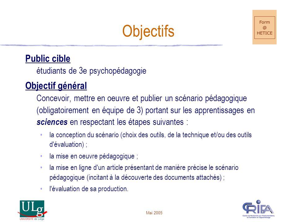 Objectifs Public cible étudiants de 3e psychopédagogie
