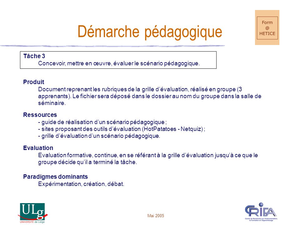 Démarche pédagogique Tâche 3