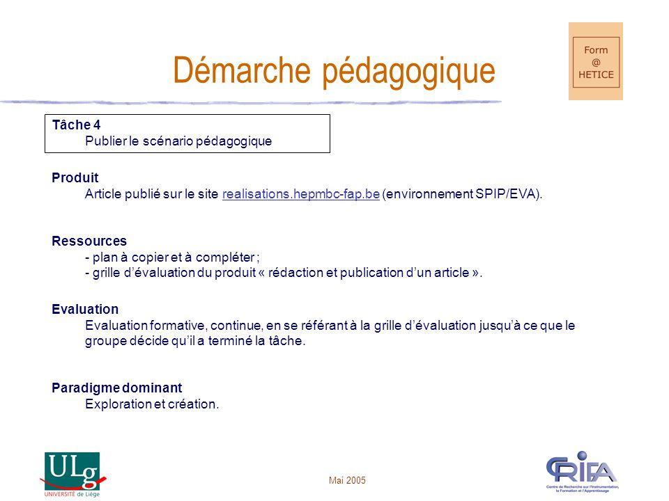 Démarche pédagogique Tâche 4 Publier le scénario pédagogique Produit