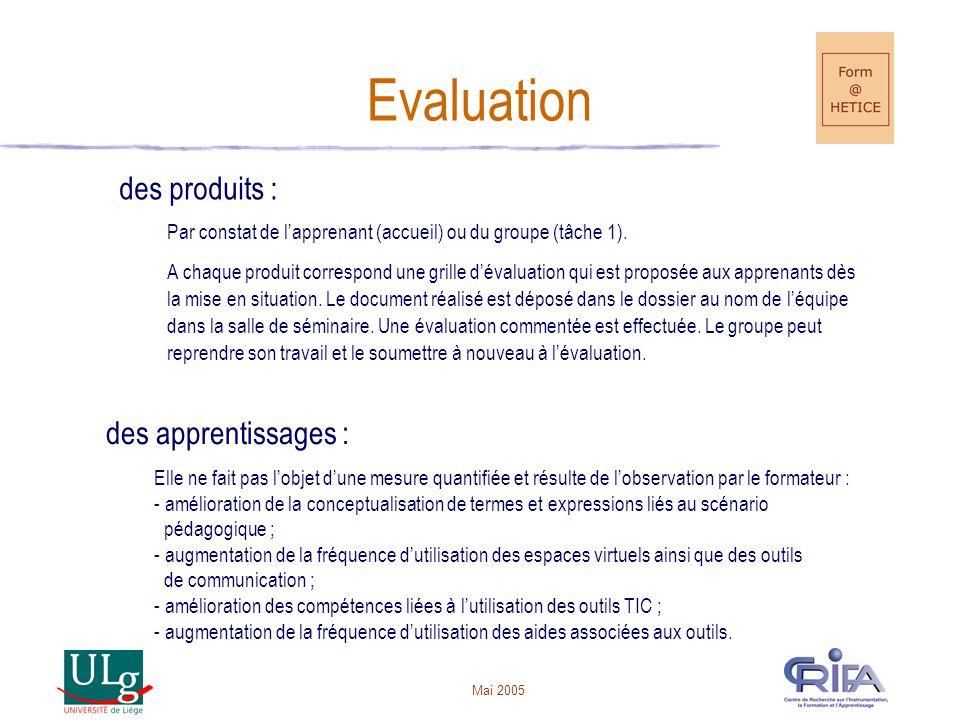 Evaluation des produits : des apprentissages :