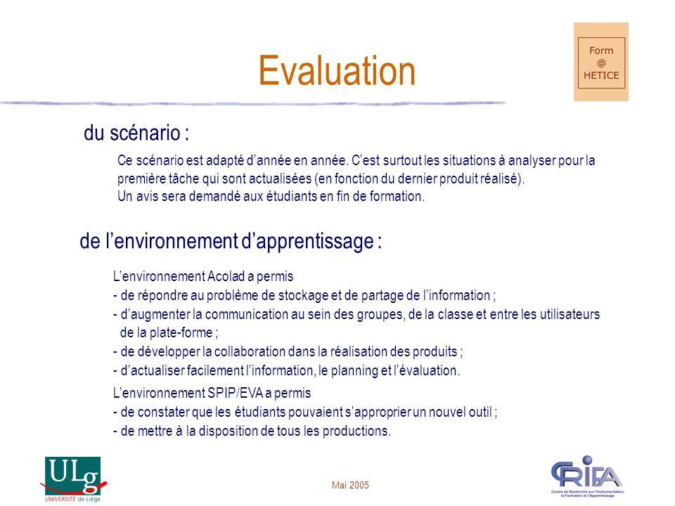 Evaluation du scénario : de l'environnement d'apprentissage :