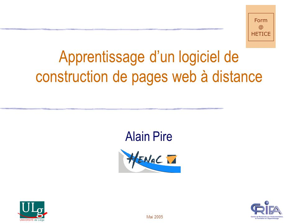 Apprentissage d'un logiciel de construction de pages web à distance