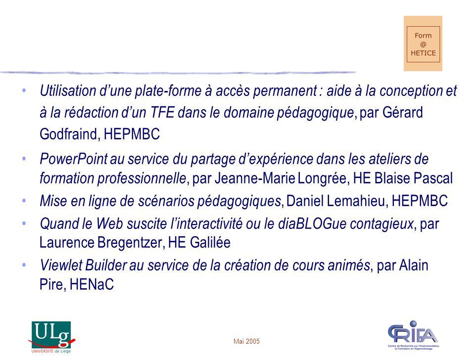 Mise en ligne de scénarios pédagogiques, Daniel Lemahieu, HEPMBC