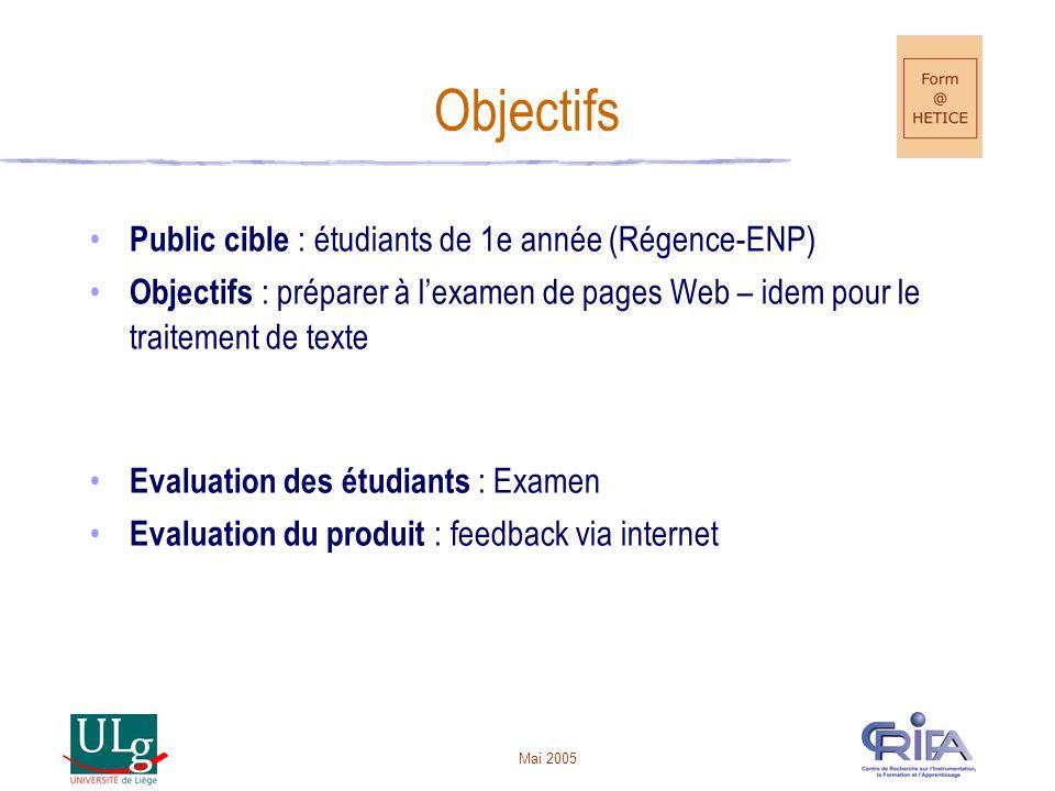 Objectifs Public cible : étudiants de 1e année (Régence-ENP)