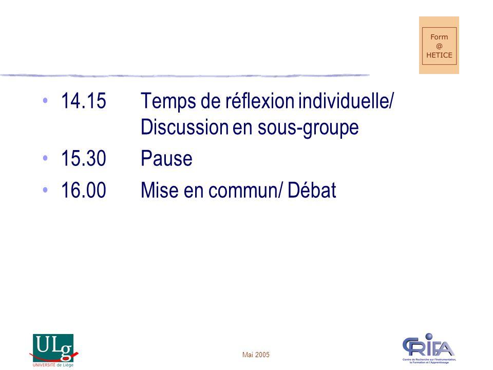 14.15 Temps de réflexion individuelle/ Discussion en sous-groupe