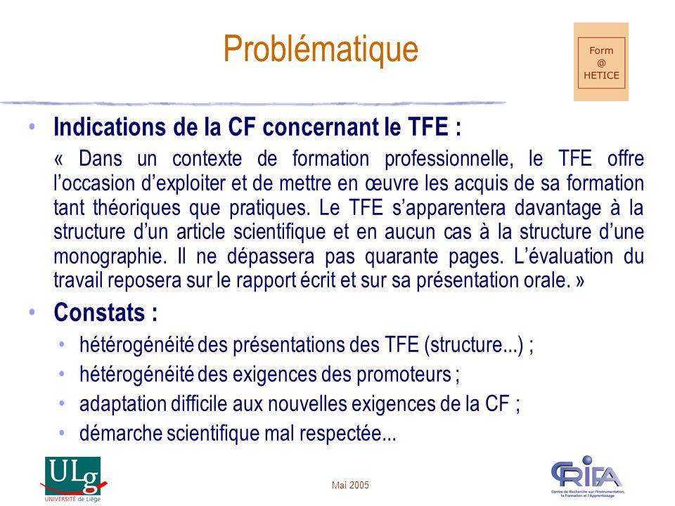 Problématique Indications de la CF concernant le TFE : Constats :