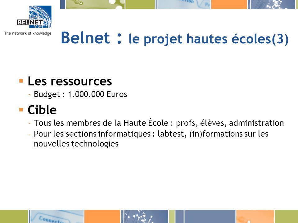 Belnet : le projet hautes écoles(3)