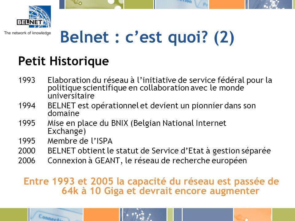 Belnet : c'est quoi (2) Petit Historique