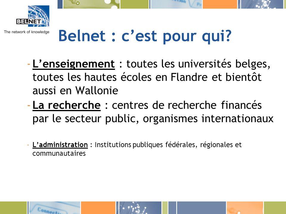 Belnet : c'est pour qui L'enseignement : toutes les universités belges, toutes les hautes écoles en Flandre et bientôt aussi en Wallonie.