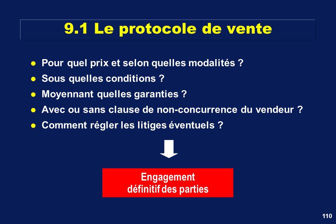 9.1 Le protocole de vente Engagement définitif des parties