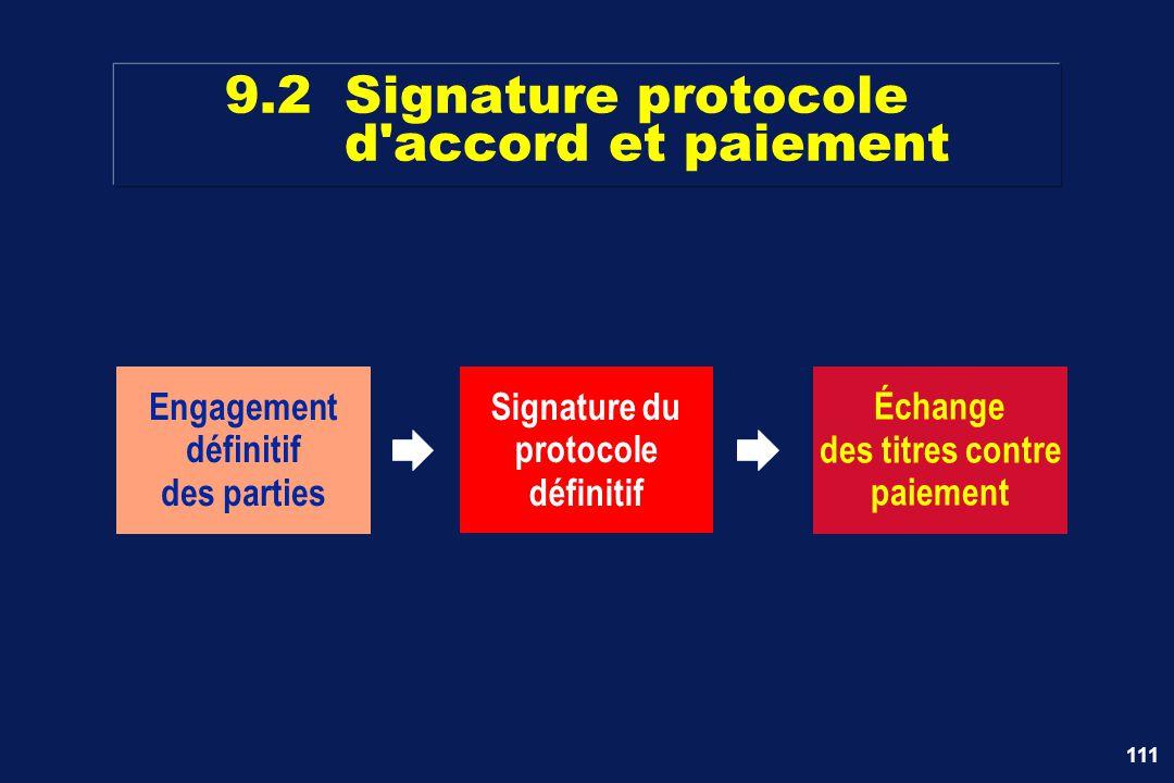 9.2 Signature protocole d accord et paiement