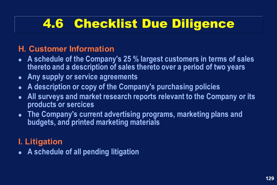 4.6 Checklist Due Diligence