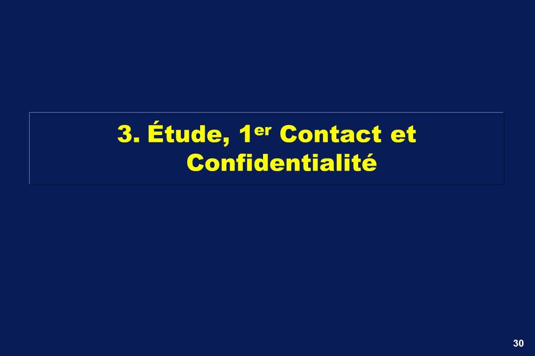 3. Étude, 1er Contact et Confidentialité