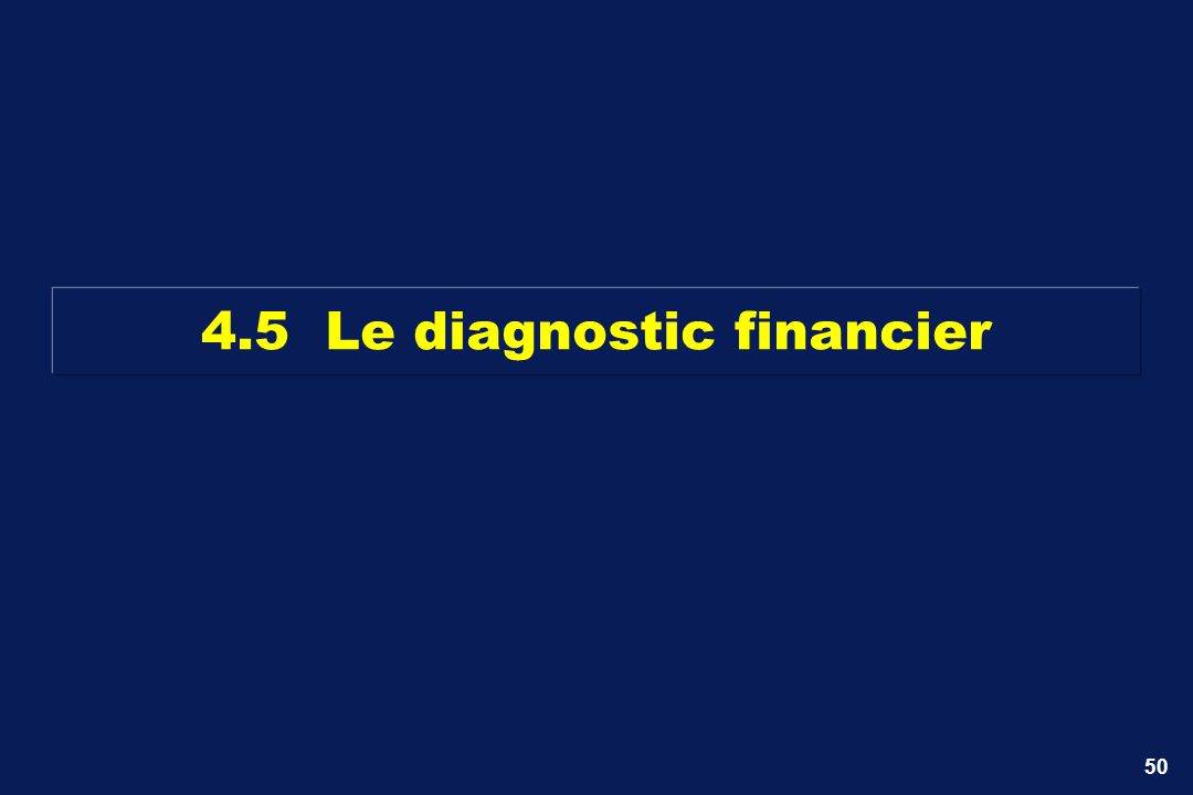 4.5 Le diagnostic financier