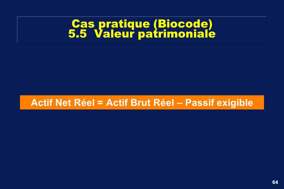 Cas pratique (Biocode) 5.5 Valeur patrimoniale