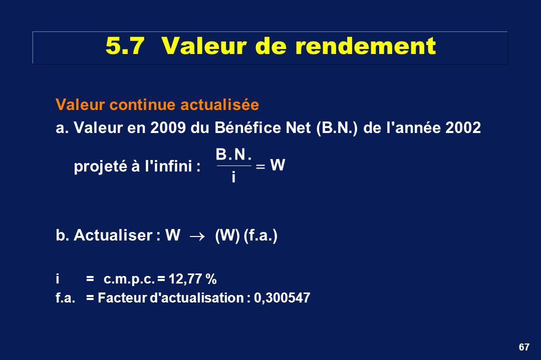 5.7 Valeur de rendement Valeur continue actualisée