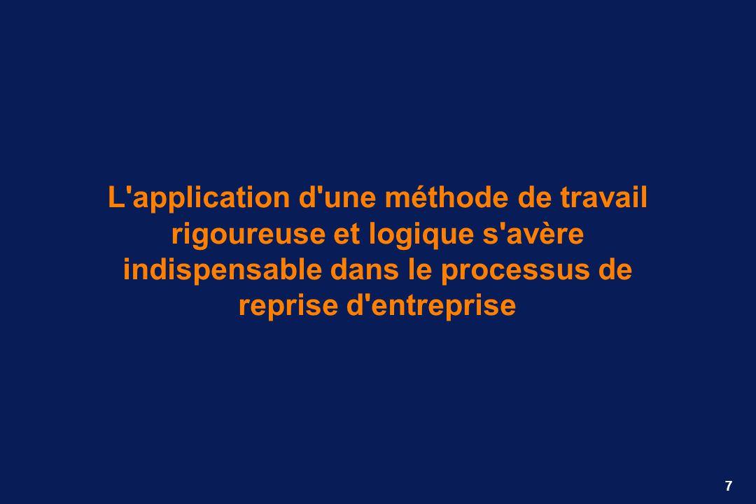 L application d une méthode de travail rigoureuse et logique s avère indispensable dans le processus de reprise d entreprise