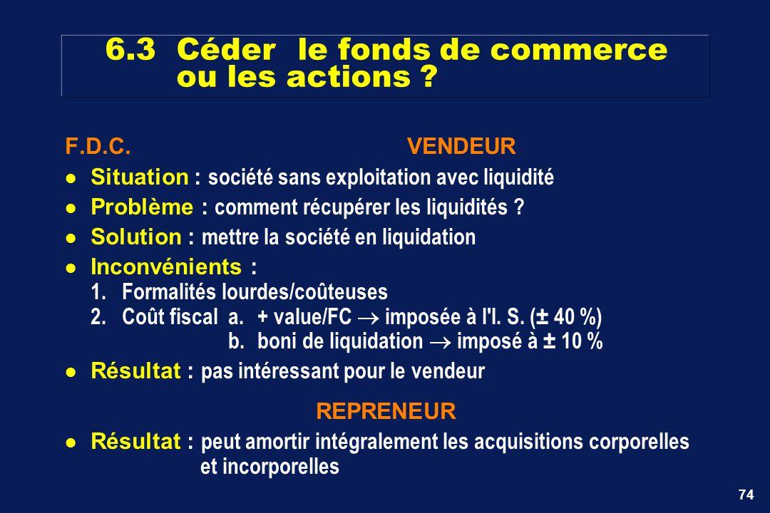 6.3 Céder le fonds de commerce ou les actions