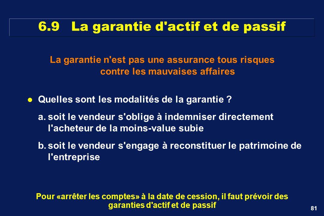 6.9 La garantie d actif et de passif