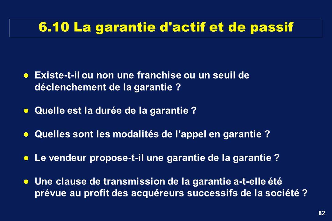 6.10 La garantie d actif et de passif