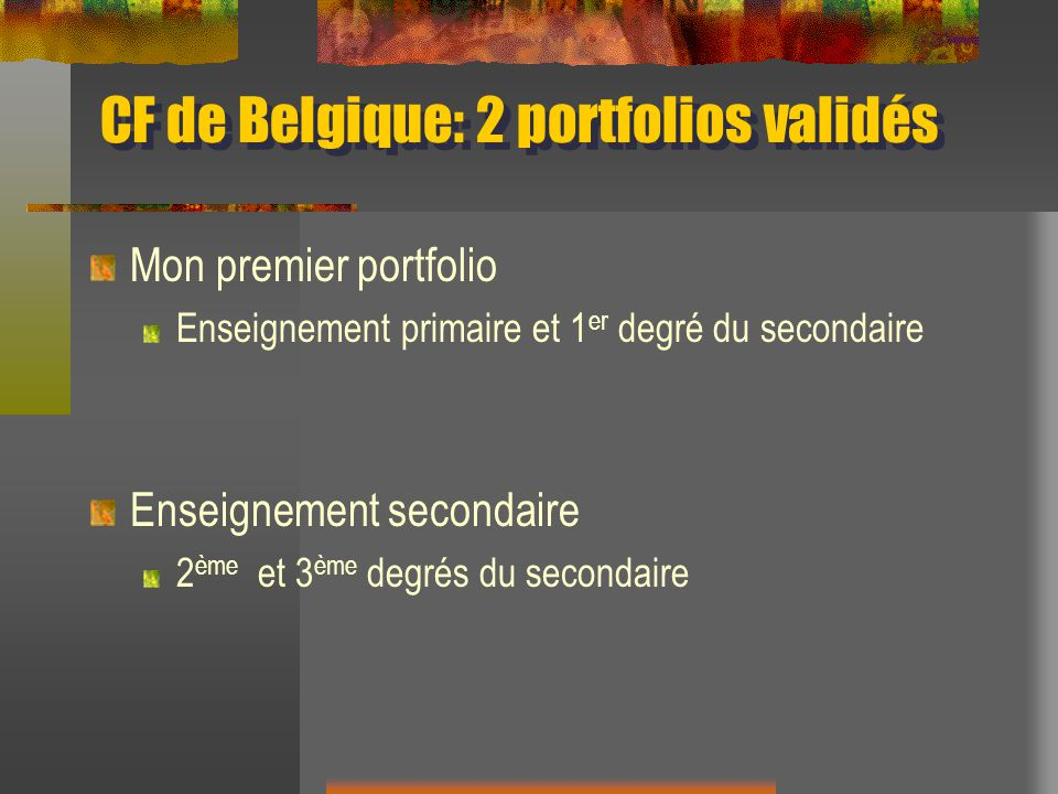 CF de Belgique: 2 portfolios validés