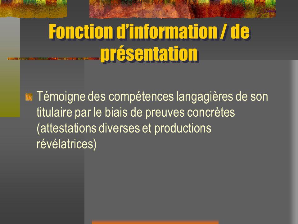 Fonction d'information / de présentation