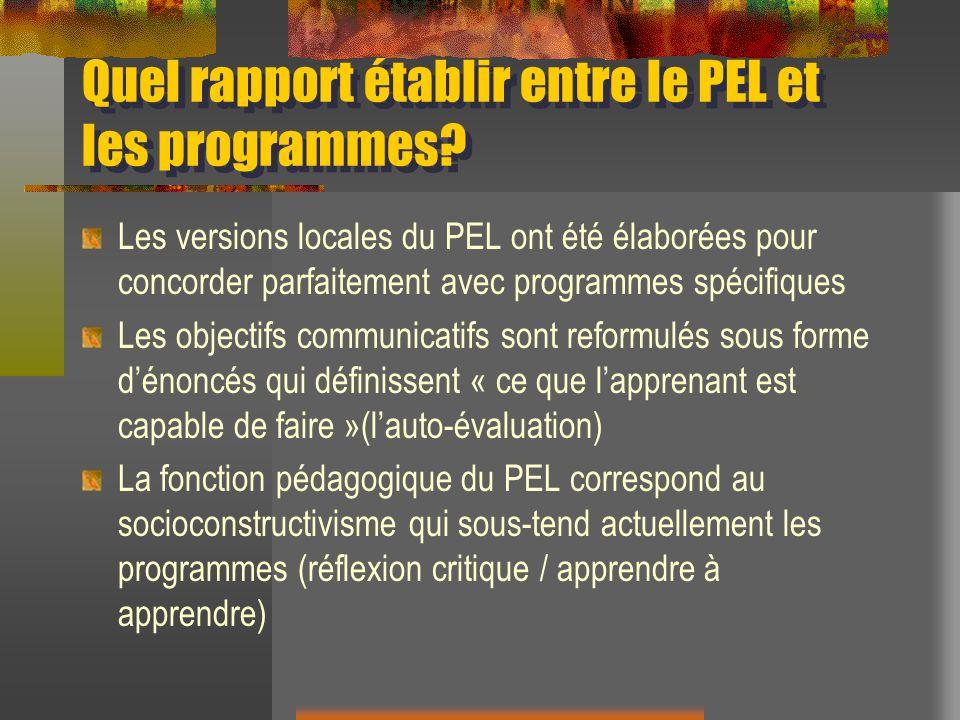 Quel rapport établir entre le PEL et les programmes