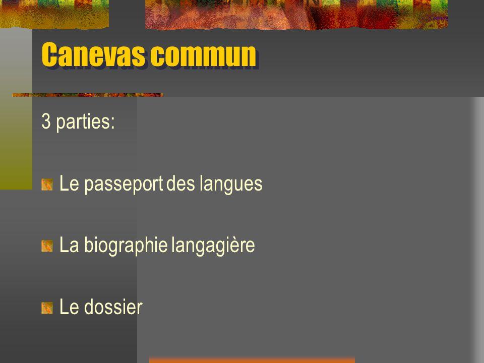 Canevas commun 3 parties: Le passeport des langues