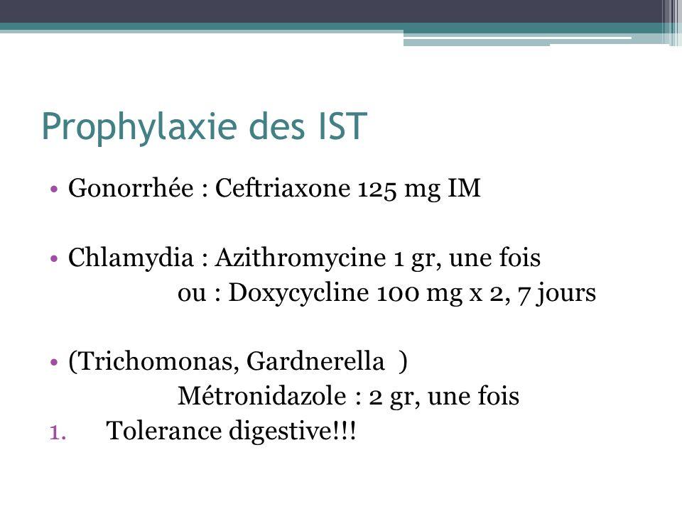 Prophylaxie des IST Gonorrhée : Ceftriaxone 125 mg IM