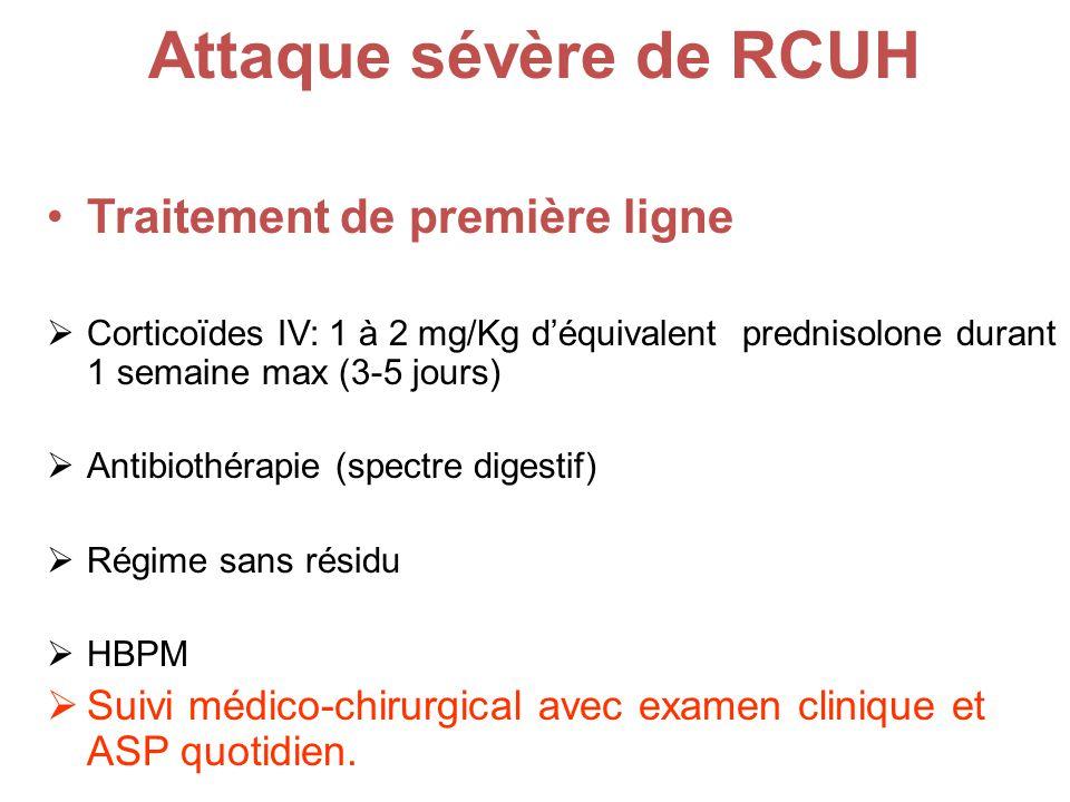 Attaque sévère de RCUH Traitement de première ligne