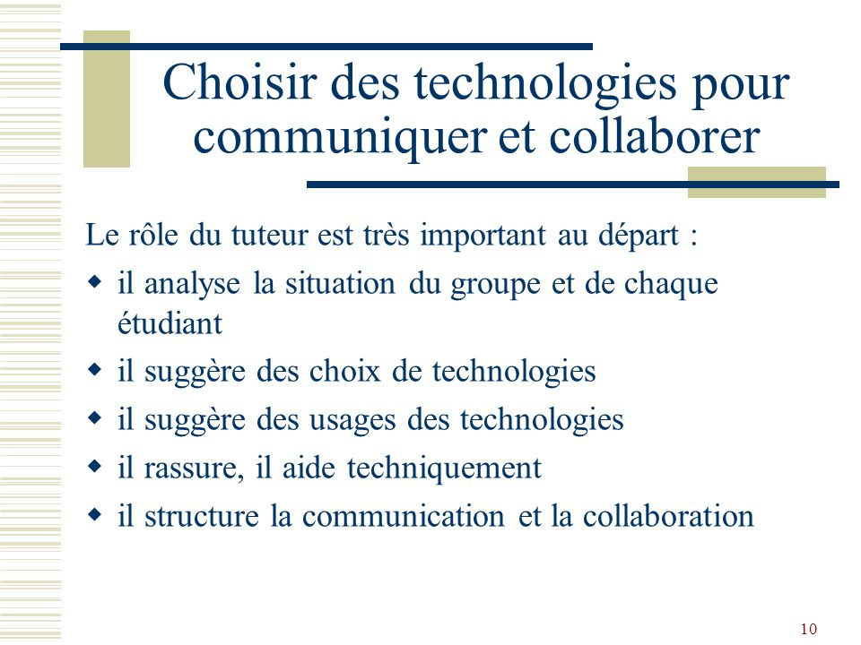 Choisir des technologies pour communiquer et collaborer