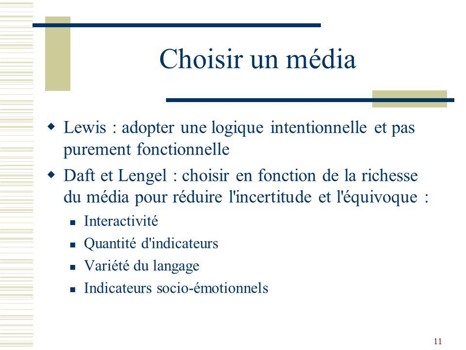 Choisir un média Lewis : adopter une logique intentionnelle et pas purement fonctionnelle.