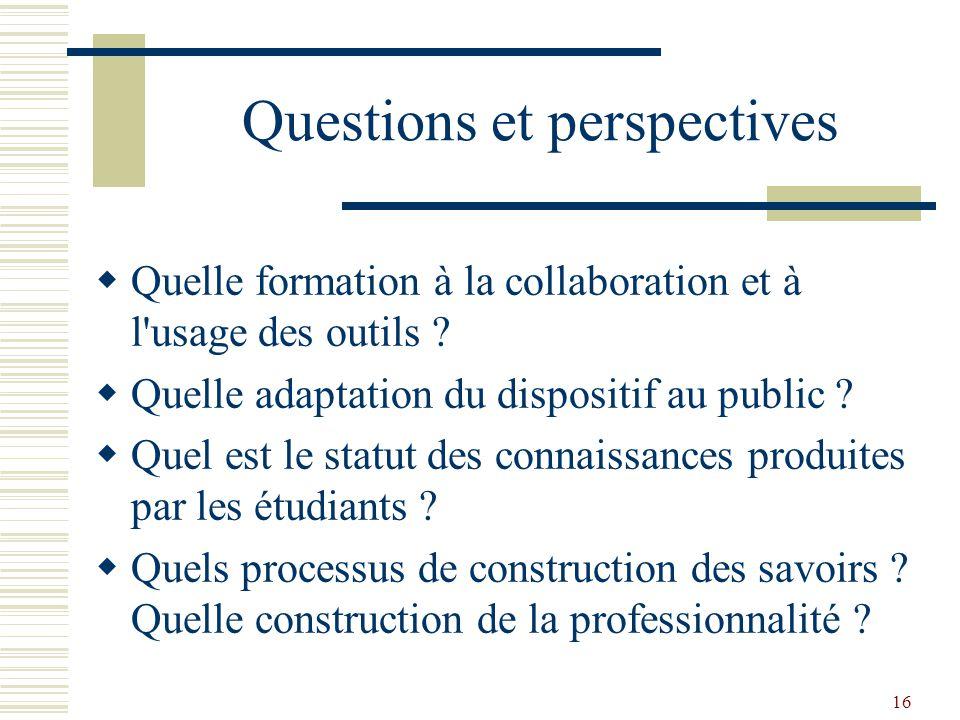 Questions et perspectives