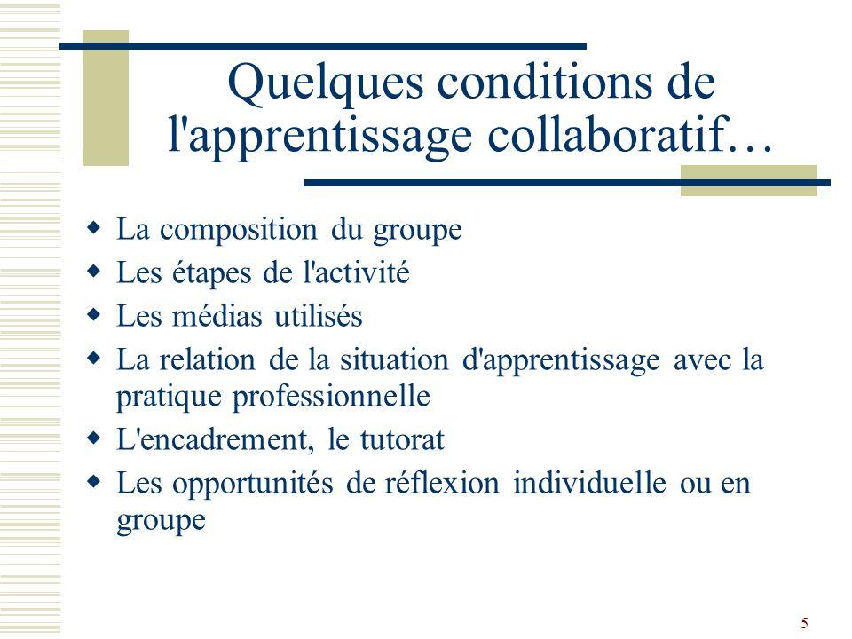 Quelques conditions de l apprentissage collaboratif…
