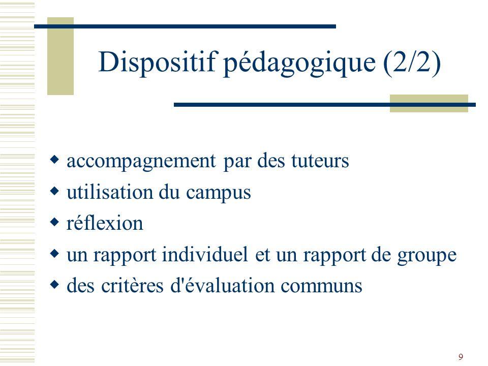 Dispositif pédagogique (2/2)