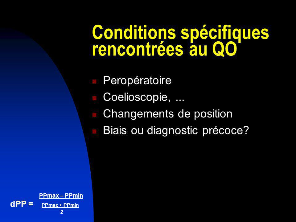 Conditions spécifiques rencontrées au QO