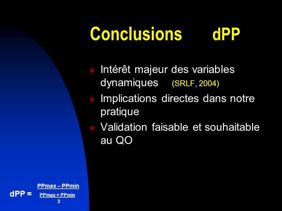 Conclusions dPP Intérêt majeur des variables dynamiques (SRLF, 2004)