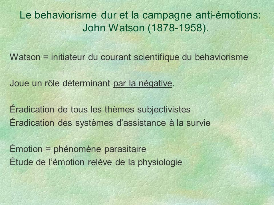 Le behaviorisme dur et la campagne anti-émotions: John Watson (1878-1958).