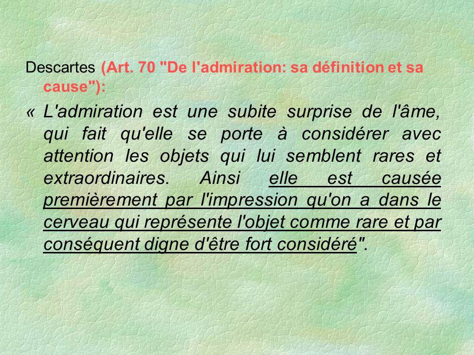 Descartes (Art. 70 De l admiration: sa définition et sa cause ):