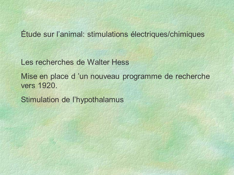 Étude sur l'animal: stimulations électriques/chimiques