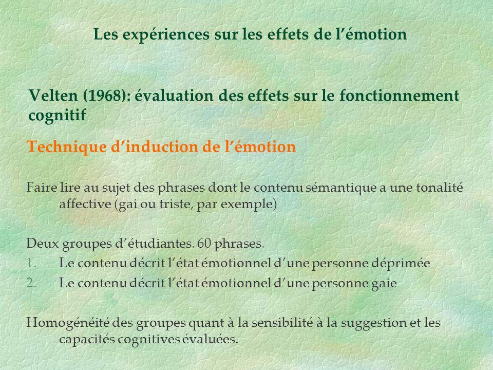 Velten (1968): évaluation des effets sur le fonctionnement cognitif