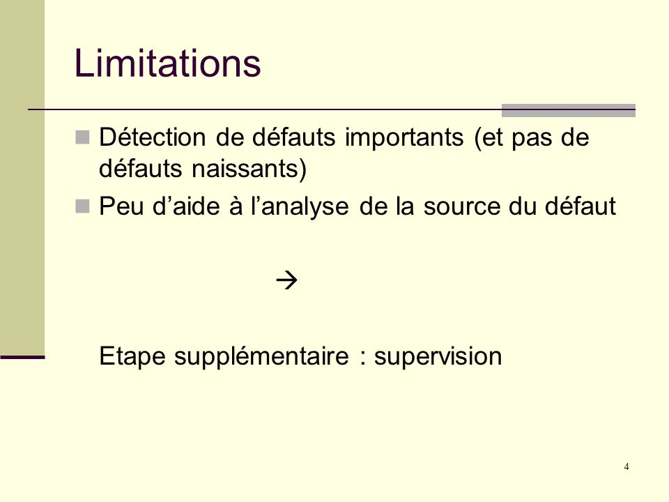 Limitations Détection de défauts importants (et pas de défauts naissants) Peu d'aide à l'analyse de la source du défaut.