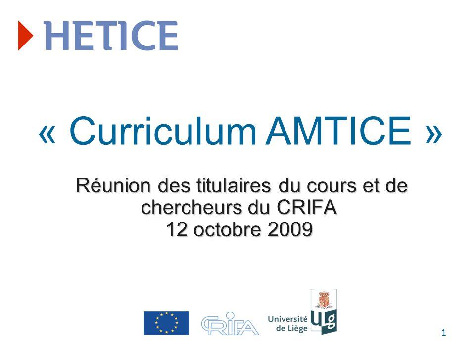 Réunion des titulaires du cours et de chercheurs du CRIFA 12 octobre 2009